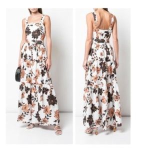 Nicholas Tiered Floral Linen Maxi Dress Size 16